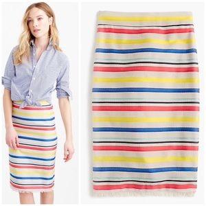 j. crew / colorful stripe jacquard pencil skirt 0P